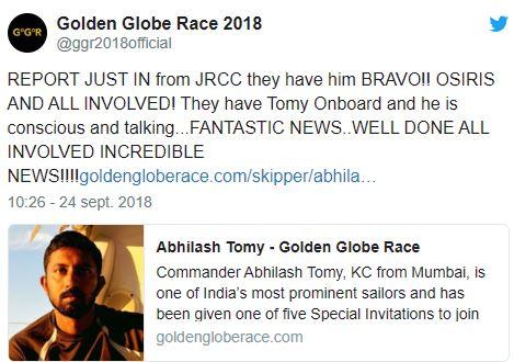Golden Globe Race :Le skipper indien Abhilash Tomy sera soigné à Maurice
