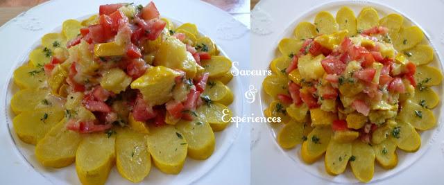 La recette d'Emmanuelle : Salade de Pâtisson & Tomates, Soleil des îles