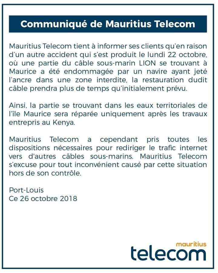 Internet : Des pannes sur le câble ralentit les connexions à Maurice