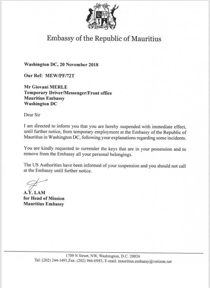 Ambassade US : Le Mauricien Giovanni Merle suspendu