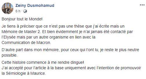 """Zeïny Dusmohamud : """" Je n'ai jamais été contactée par l'Elysée"""""""