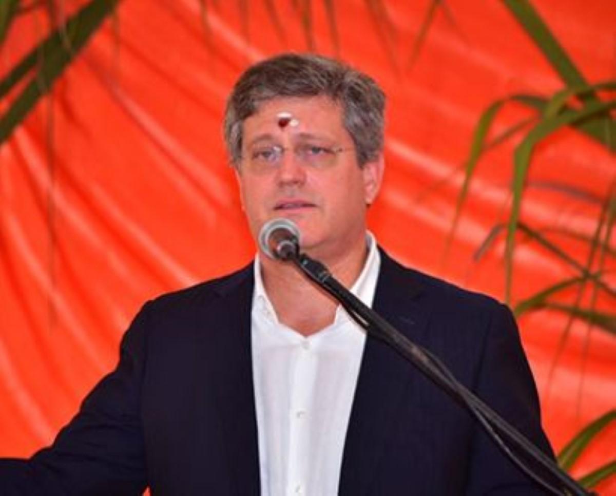 Jacques d'Unienville, CEO d'Omnicane, lors de la prière annuelle au kovil Amma Tookay, le 17 juin 2018.