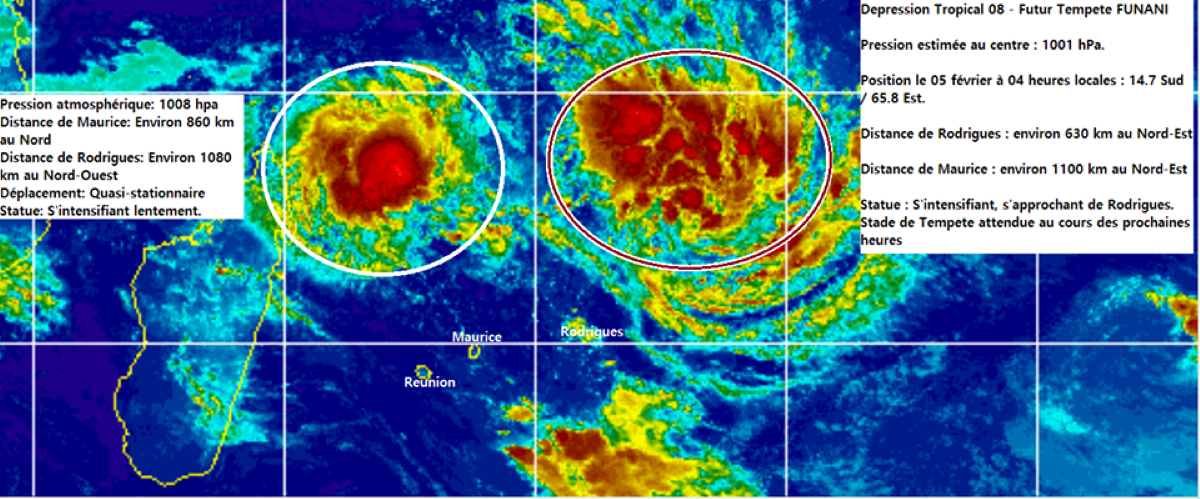 La future tempête Funani  à 630 kms de Rodrigues