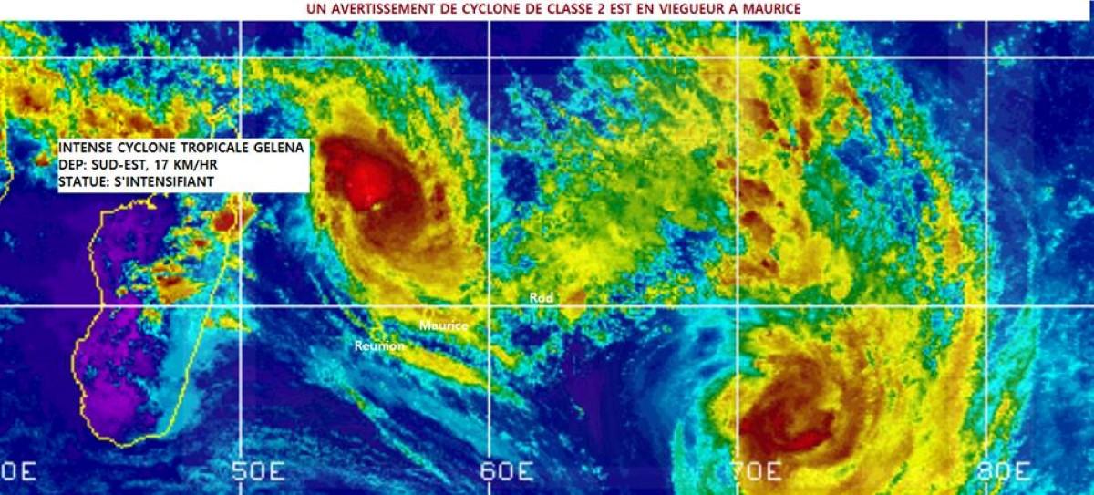 Le cyclone tropicale intense GELENA est à 470 km de Maurice