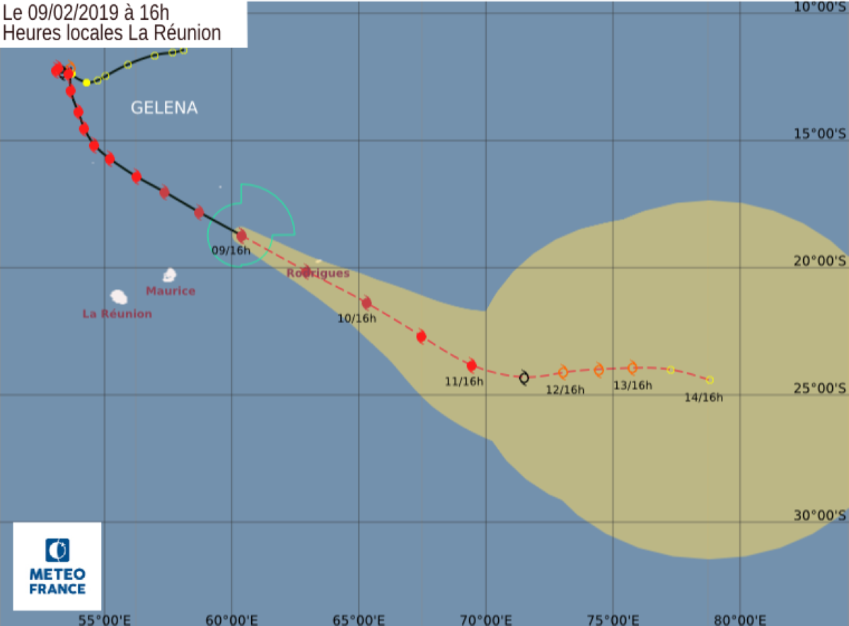 Le cyclone tropical intense Gelena est à 175 km de Rodrigues avec un danger imminent