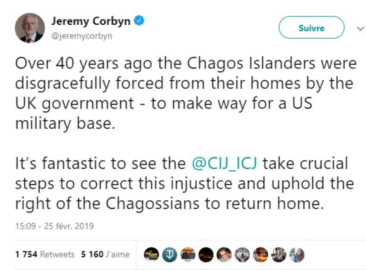 Jeremy Corbyn est heureux de la décision de la CIJ