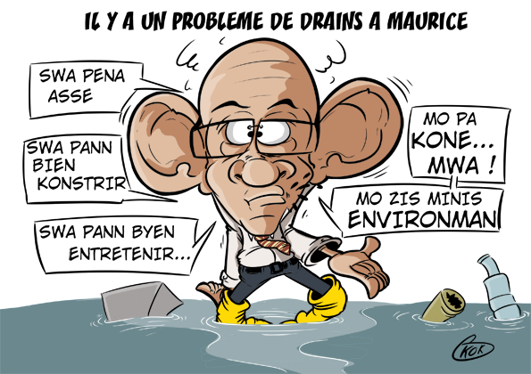 [KOK] Le dessin du jour : Il y a un problème de drains à Maurice