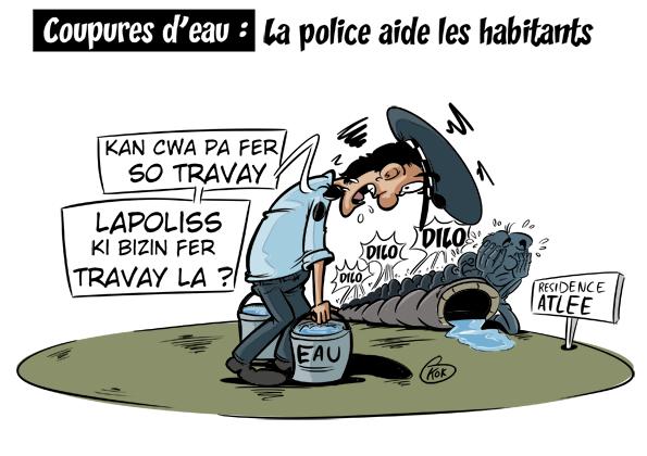 [KOK] Le dessin du jour : Coupures d'eau, la police aide les habitants