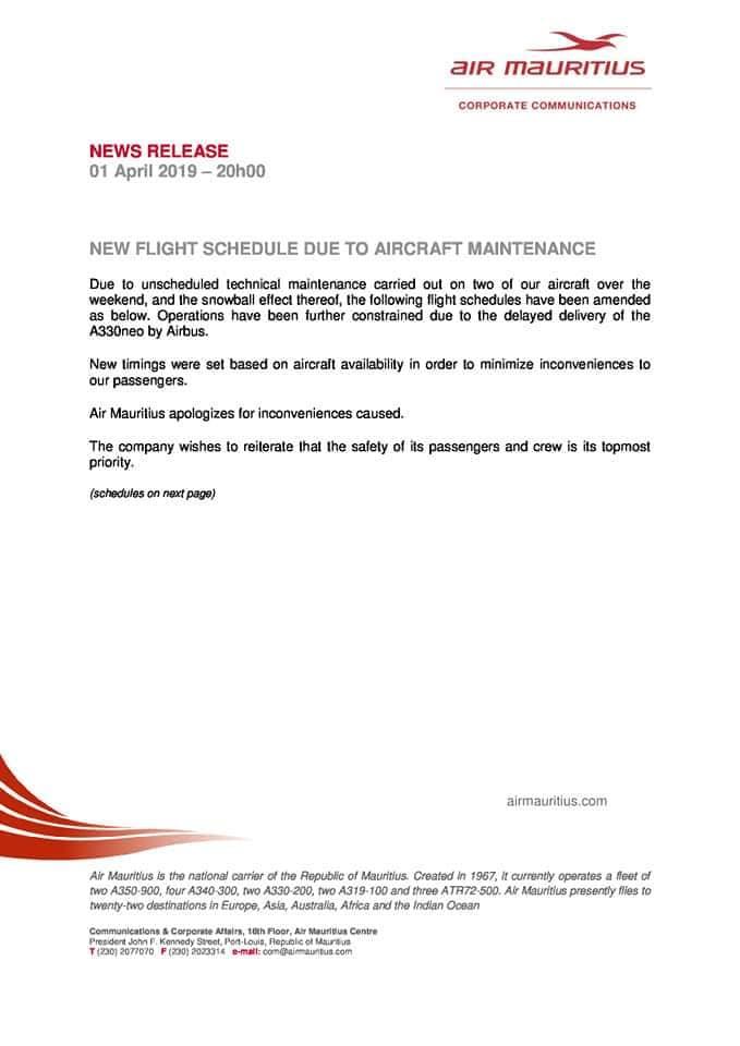 Air Mauritius reprogramme ses vols vers l'Afrique du Sud, la Malaisie, Singapour, l'Inde