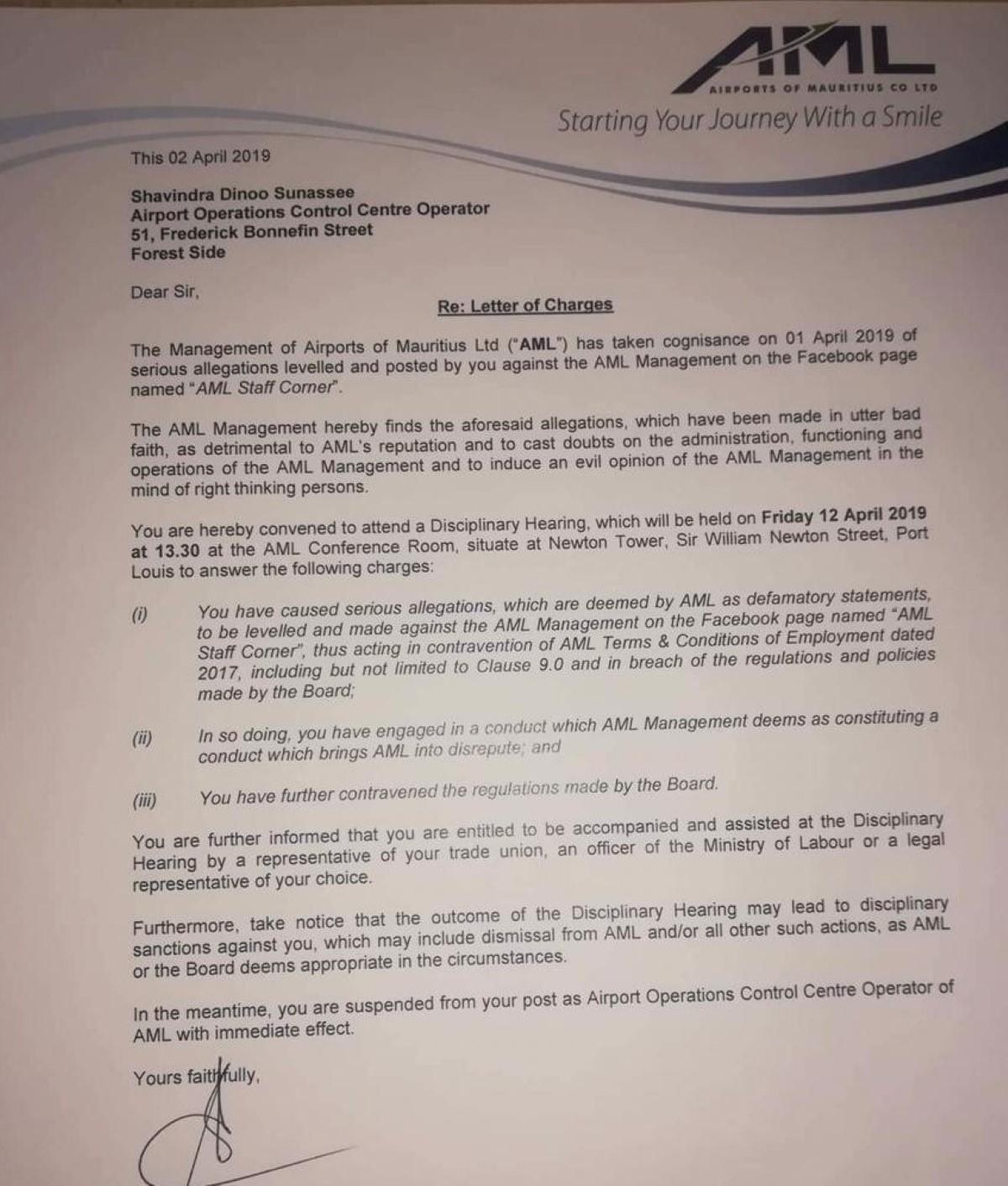 Certains propos sur Facebook à l'origine de la suspension d'un officier d'Airports of Mauritius Ltd