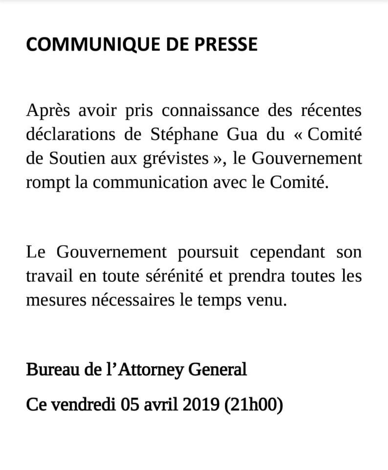 Communiqué lapidaire du bureau l'Attorney General au Comité de soutien aux grévistes