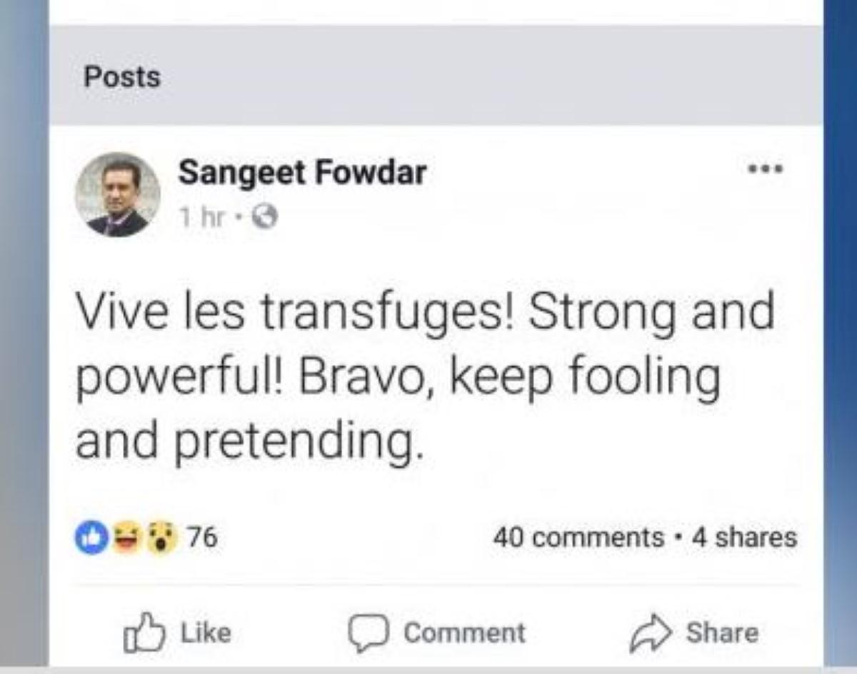 Le député Sangeet Fowdar se lâche sur les réseaux sociaux