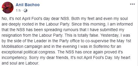 """Anil Bachoo : """"Sorry my dear friends, It's not April Fool's Day. My Heart and My Soul are Labour"""""""