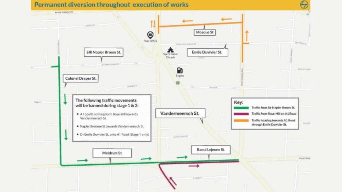 Metro Express : Des routes fermées et des déviations à prévoir à Beau-Bassin