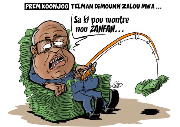 """[KOK] Le dessin du jour : Prem Koonjoo """"Telman dimounn zalou mwa"""""""