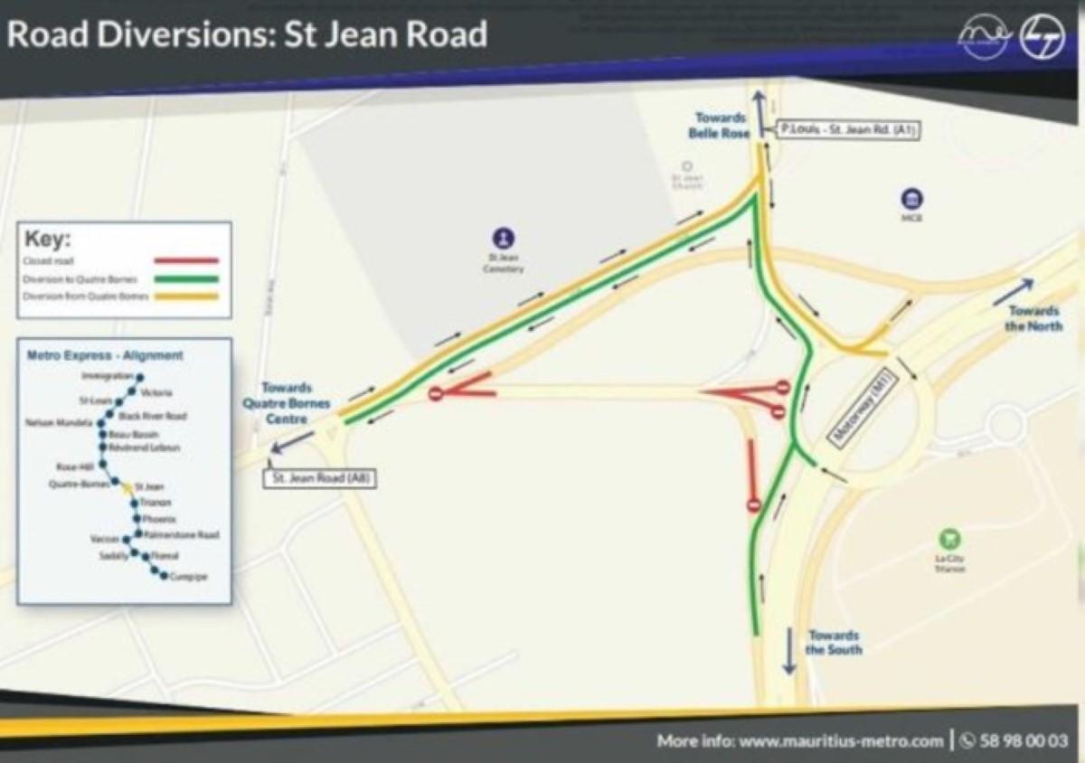 Metro Express : Les travaux du Flyover à St Jean débutent ce week-end