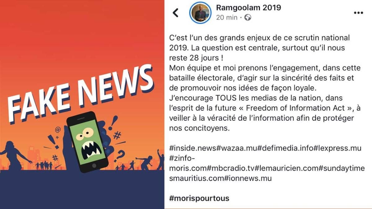 Navin Ramgoolam invite les médias à la vigilance contre les Fake news