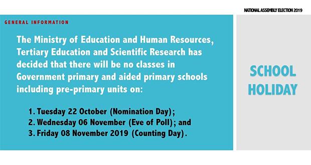 Élections : Les écoles fermées le 22 octobre et les 6 et 8 novembre