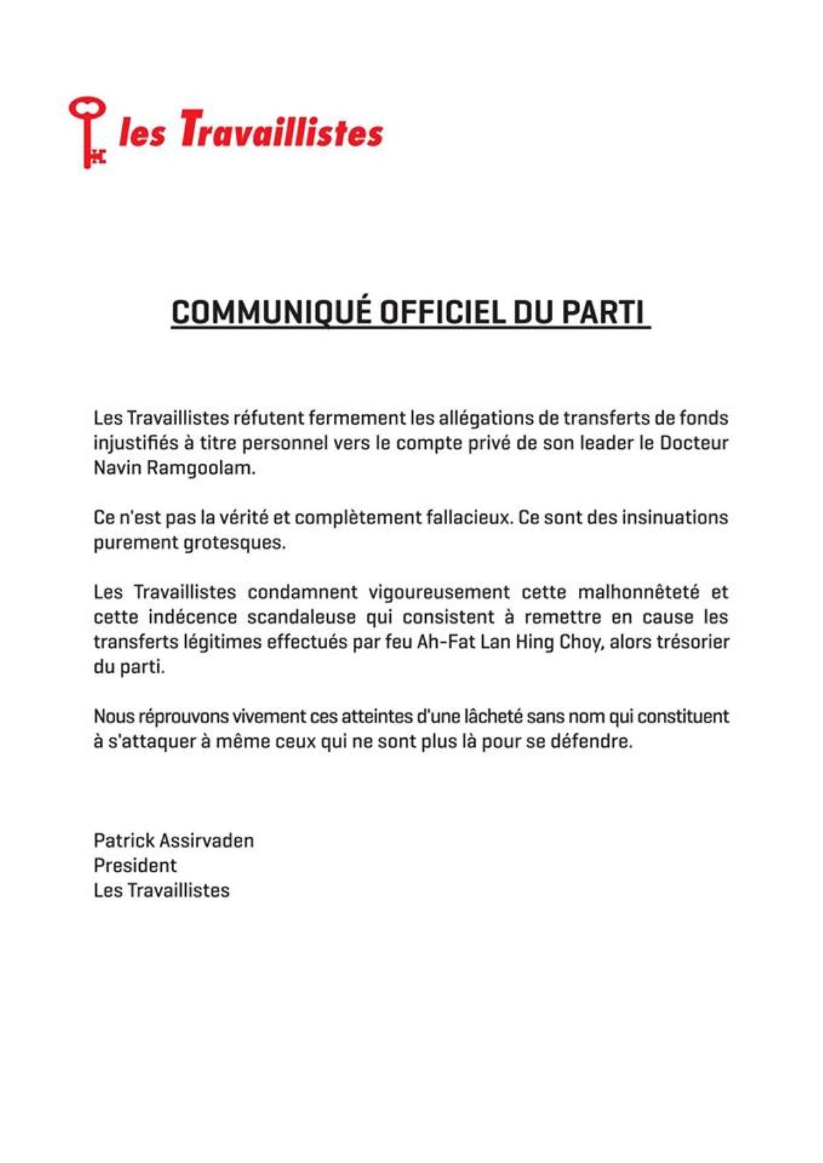 Relevés bancaires de Ramgoolam : le PTr condamne «cette malhonnêteté et cette indécence scandaleuse»