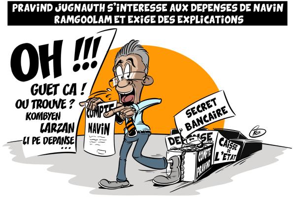 [KOK] Le dessin du jour : Pravind Jugnauth exige des explications sur les dépenses de Ramgoolam