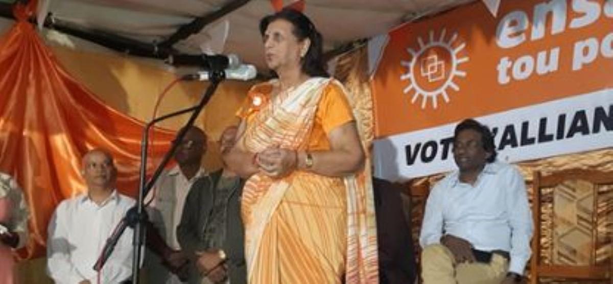 Dynastie familiale : Lady Sarojini Jugnauth mène campagne pour faire élire son fils