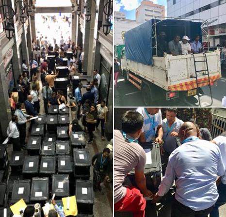 Transport des urnes dans les stations de police de l'île sous haute sécurité