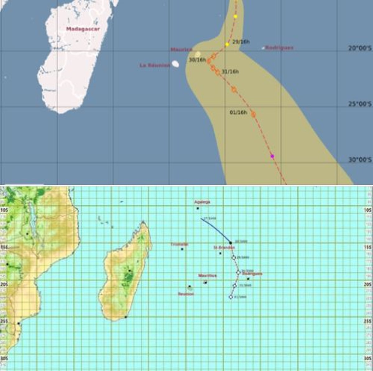 Future Calvinia : Prévisions différentes entre la station météo de Vacoas et le CMRS de La Réunion