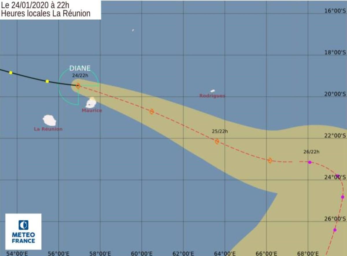 La tempête tropicale modérée Diane est à 140 km au Nord-Ouest de Maurice