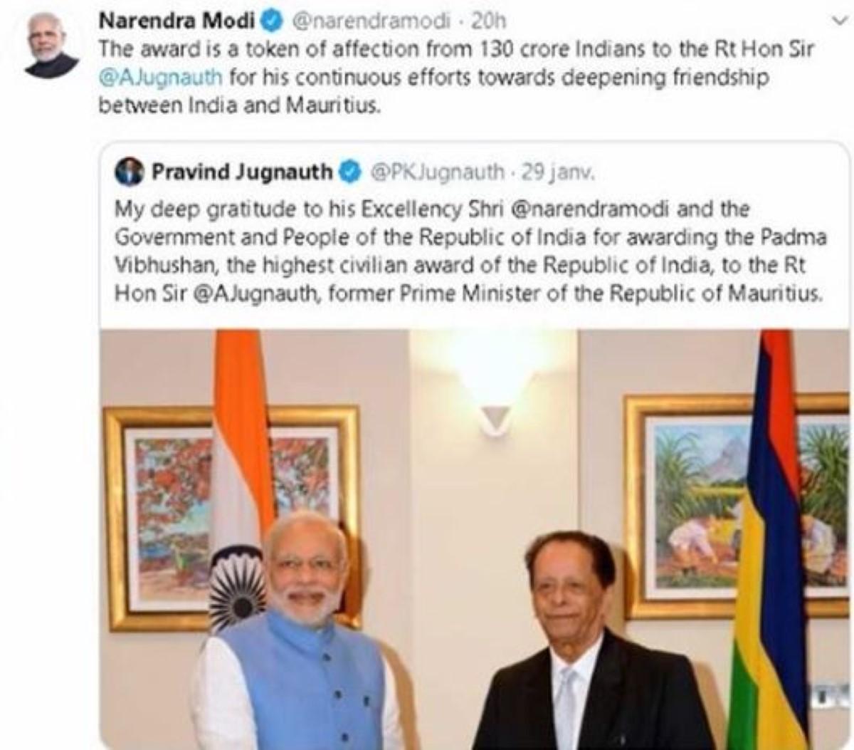 Echange de Tweets entre Narendra Modi et Pravind Jugnauth