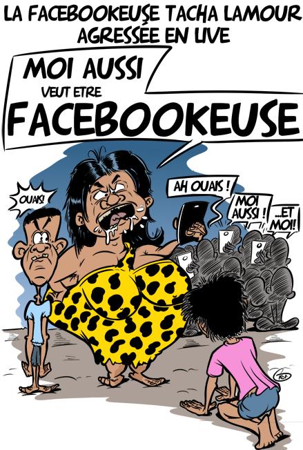[KOK] Le dessin du jour : La Facebookeuse TashaLamour sauvagement agressée par des lâches