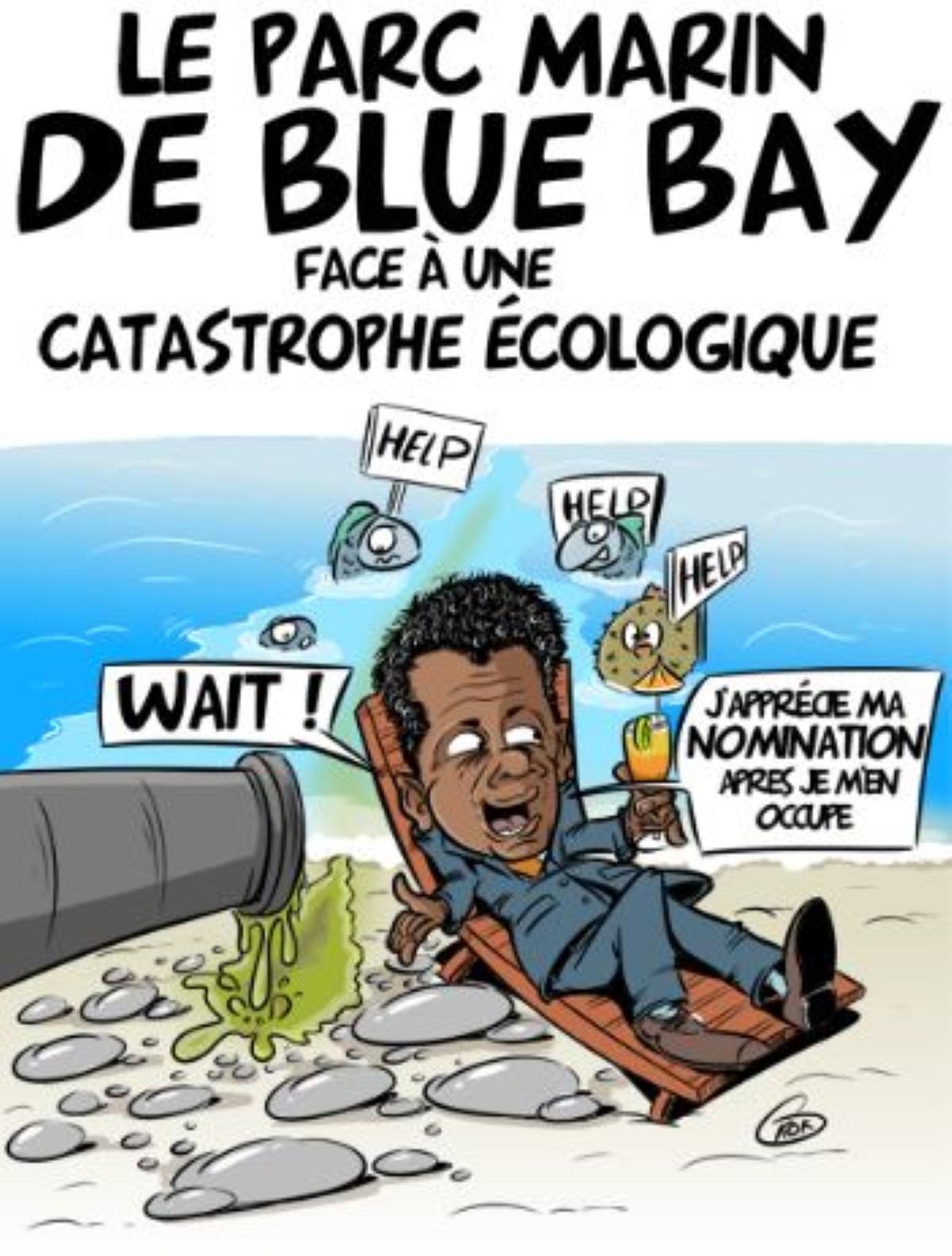 [KOK] Le dessin du jour : Le parc marin de Blue Bay face à une catastrophe écologique