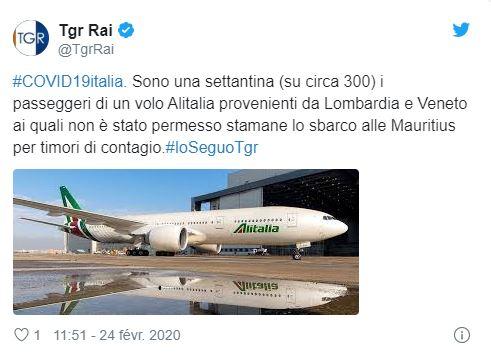 [Coronavirus] Un avion d'Alitalia, qui transporte 300 passagers, bloqué à son atterrissage à l'île Maurice