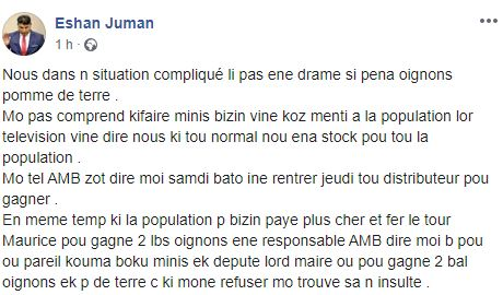"""Eshan Juman affirme que les ministres, députés et maires ont droit à """"2 bal"""" d'oignons et pommes de terre"""