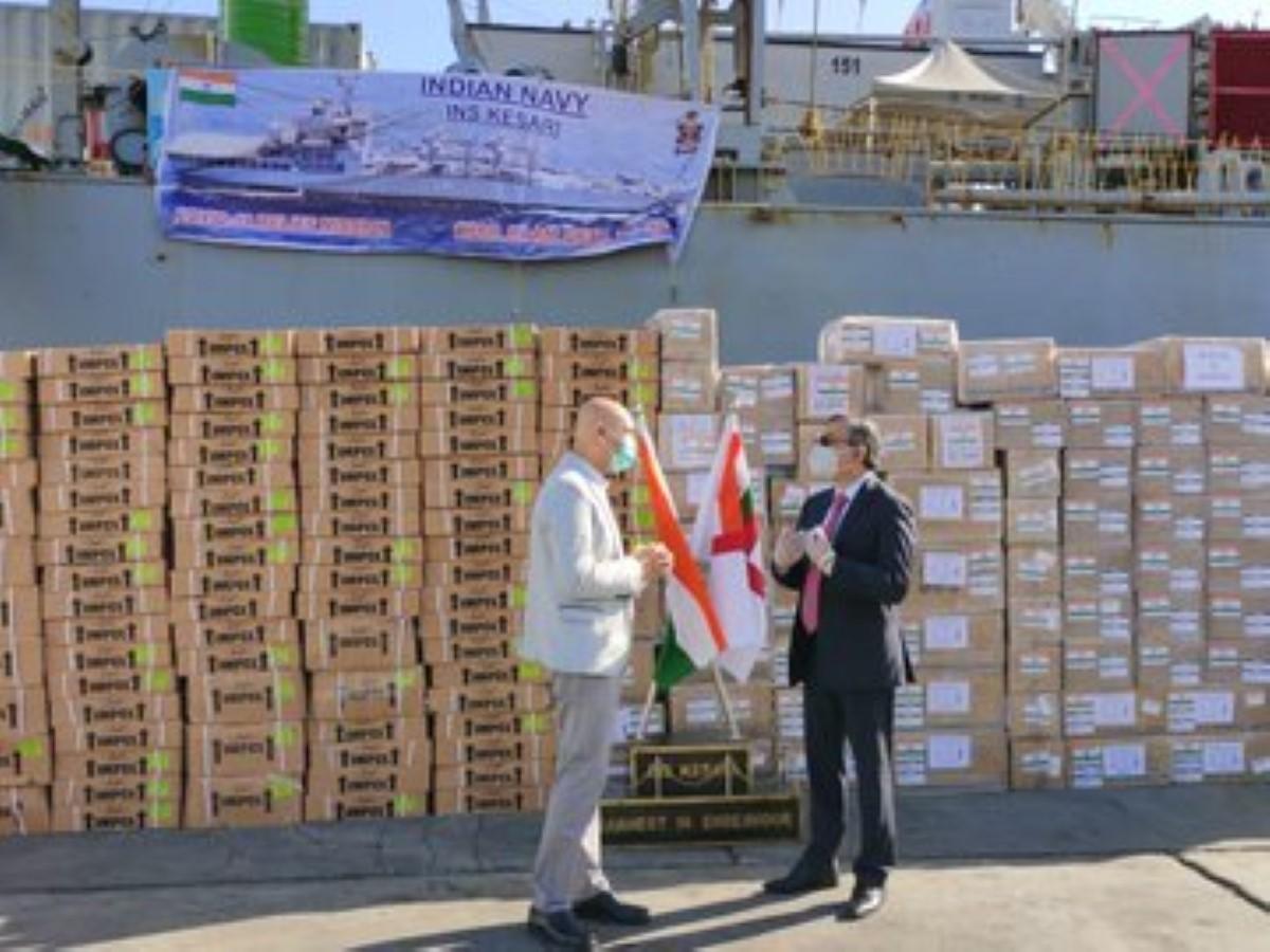 Le navire indien l'INS Kesari est arrivé à Maurice avec des médicaments et une équipe médicale