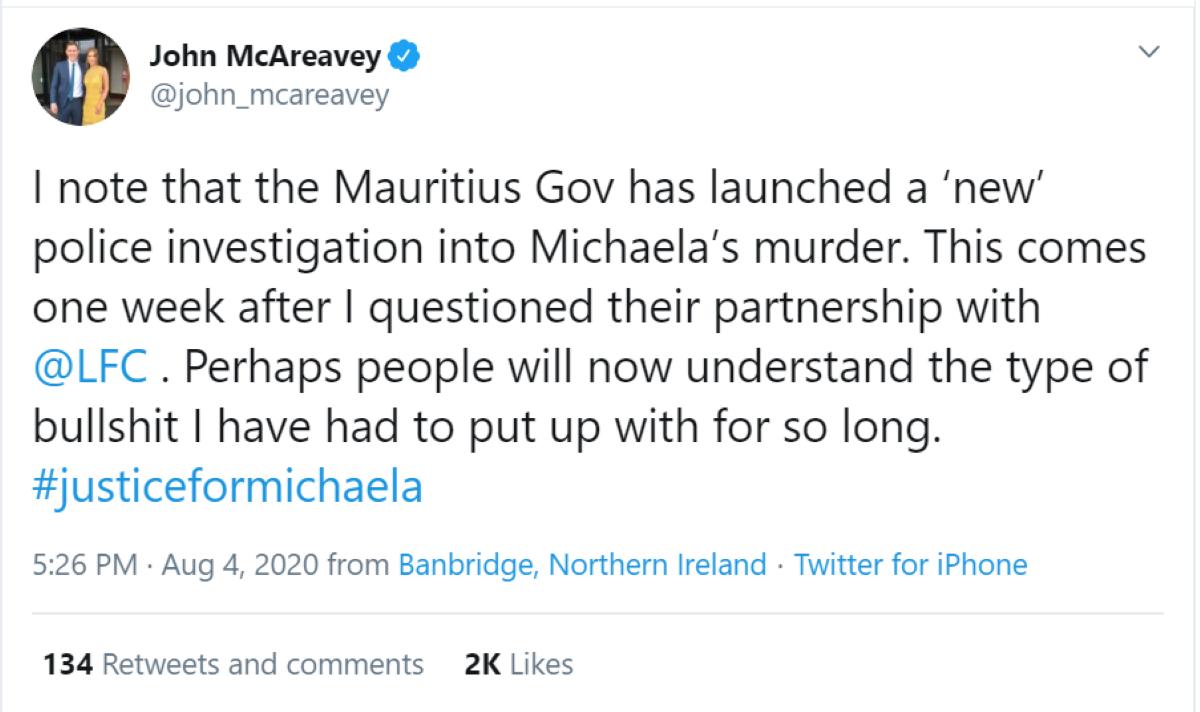 John McAreavey ironise sur la «nouvelle» enquête policière à Maurice, suite à sa colère du partenariat avec Liverpool FC