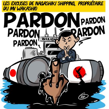 L'actualité vu par KOK : Les excuses de Nagashiki Shipping, propriétaire du MV Wakashio