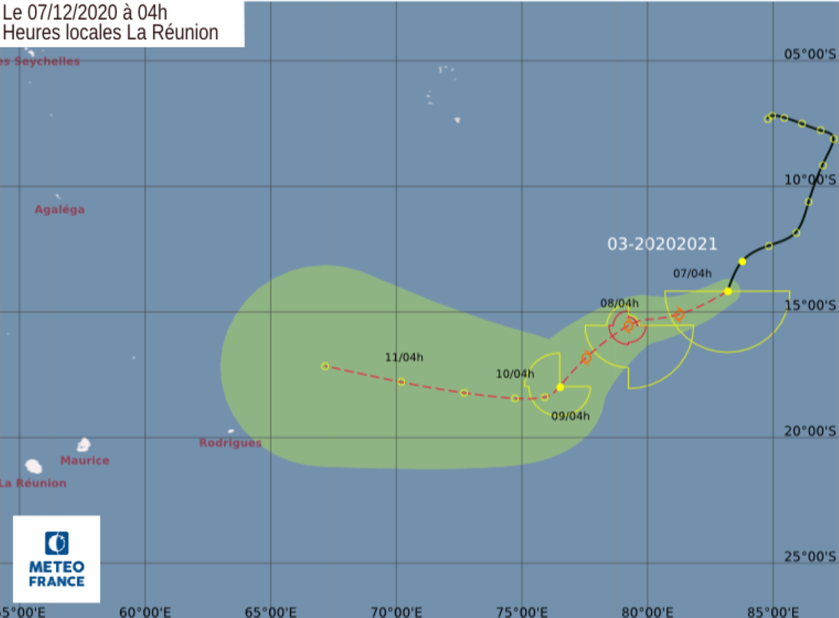 La future tempête tropicale Bongoyo est à environ 2650 km au Nord-Est de Maurice
