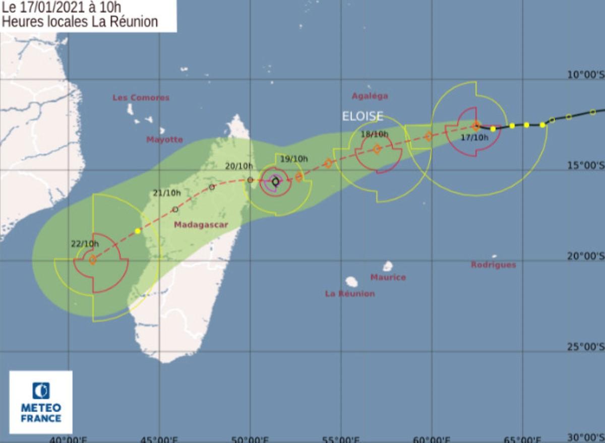 La tempête tropicale modérée baptisée Eloise évolue à environ 950 km au nord-est de Maurice
