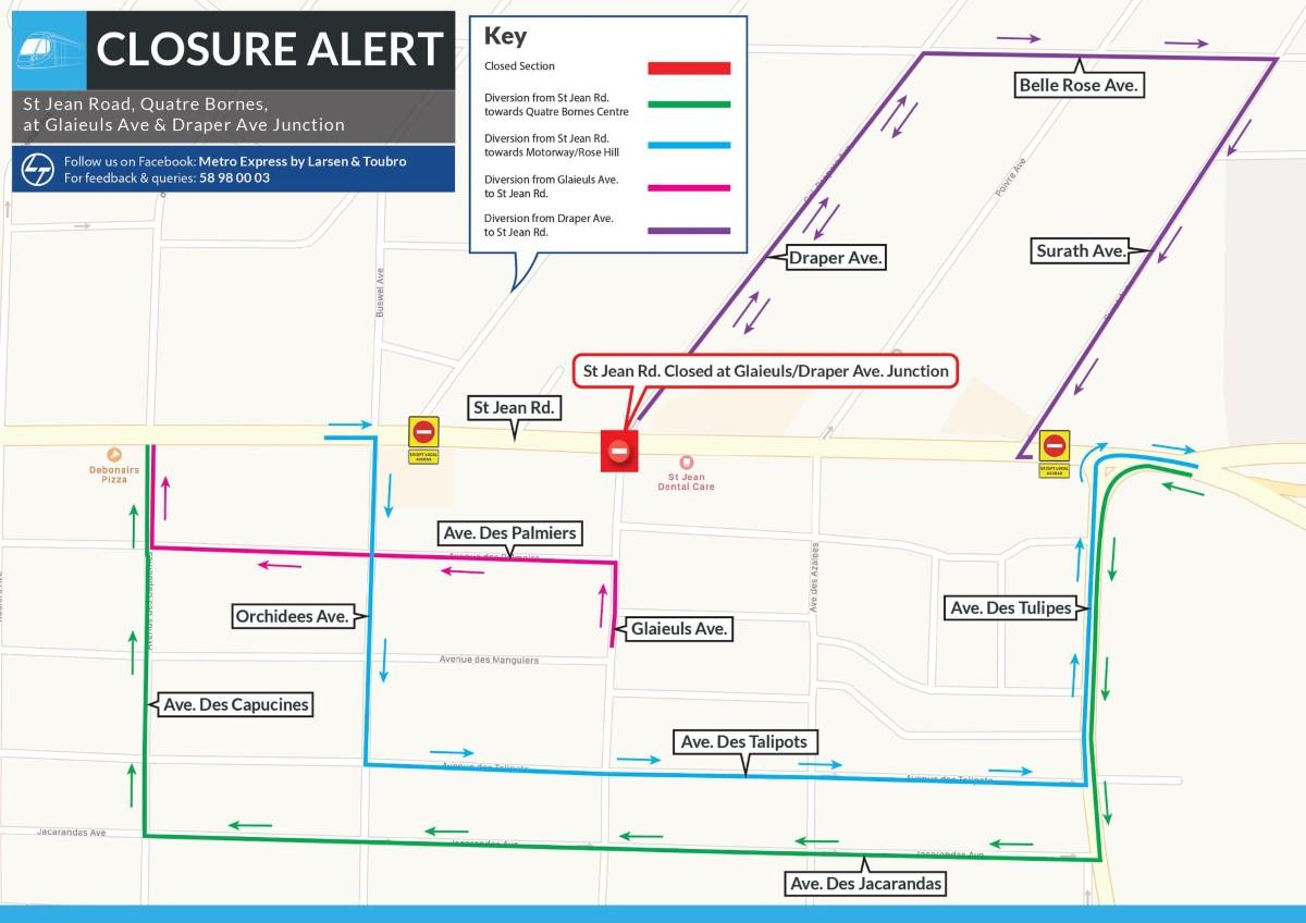 Metro Express : de nouvelles déviations à prévoir à Quatre-Bornes