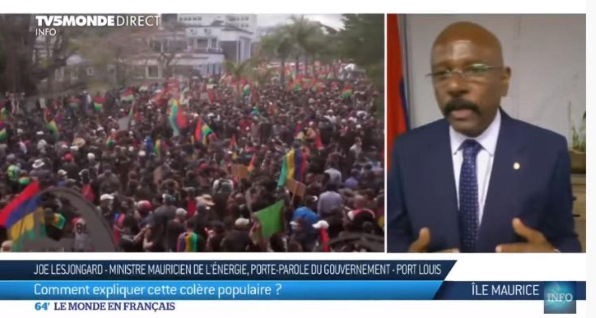 [Vidéo] Sur TV5 Monde, Joe Lesjongard affirme : «il n'y a aucun malaise à Maurice»