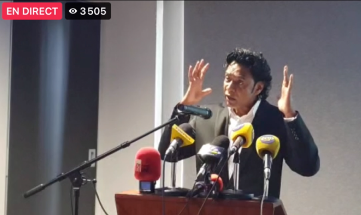 M. Nandcoomar Bodha, lors de sa conférence de presse, le vendredi 19 février, à Port-Louis © Capture d'écran