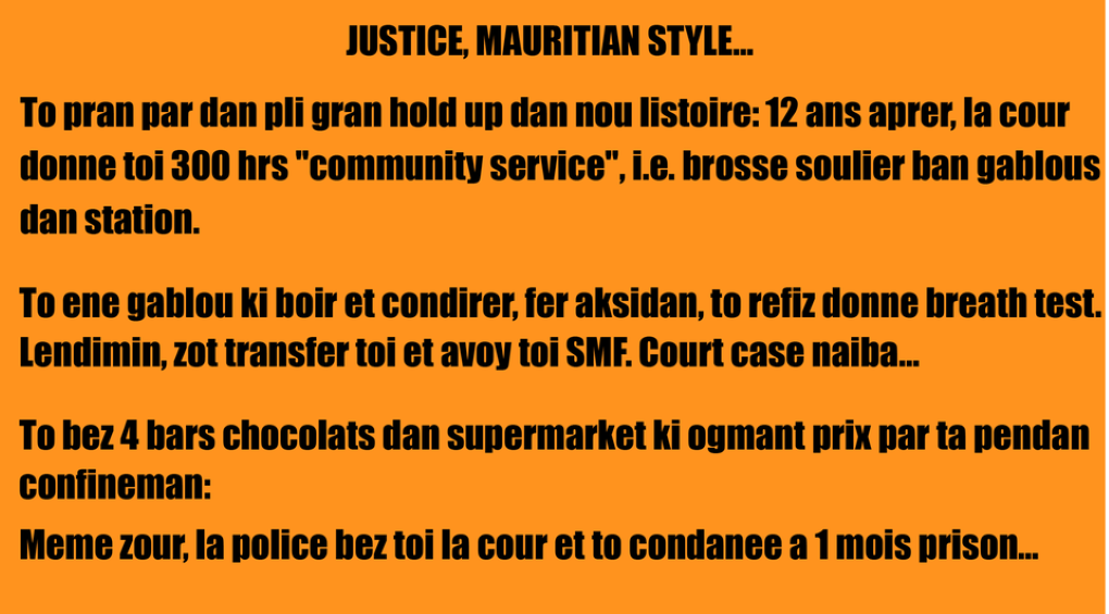 [Paul Lismore] Justice, Mauritian Style...
