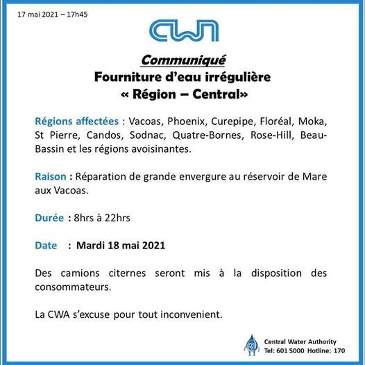 CWA : Fourniture d'eau irrégulière dans plusieurs régions dans le Centre