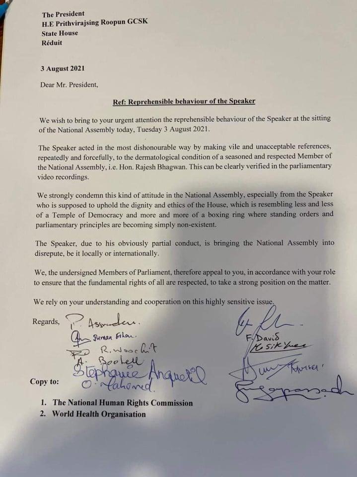 Dérapage du Speaker à l'assemblée à l'encontre du député Bhagwan, une lettre envoyée à Roopun