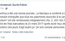 Ameenah Gurib-Fakim a publié sur sa page Facebook un message !