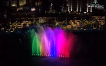 [Vidéo] Port-Louis Waterfront : The brightly illuminated SBM Fountain