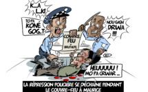 [KOK] Le dessin du jour : La répression policière se déchaîne pendant le couvre-feu à Maurice